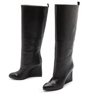 See by Chloe | Tall Wedge Black Leather Boots 39